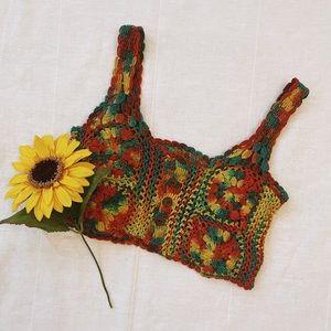 vintage boho crochet crop tank